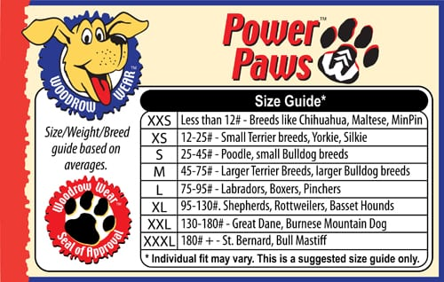 Power Paws Dog Traction Socks Size Chart