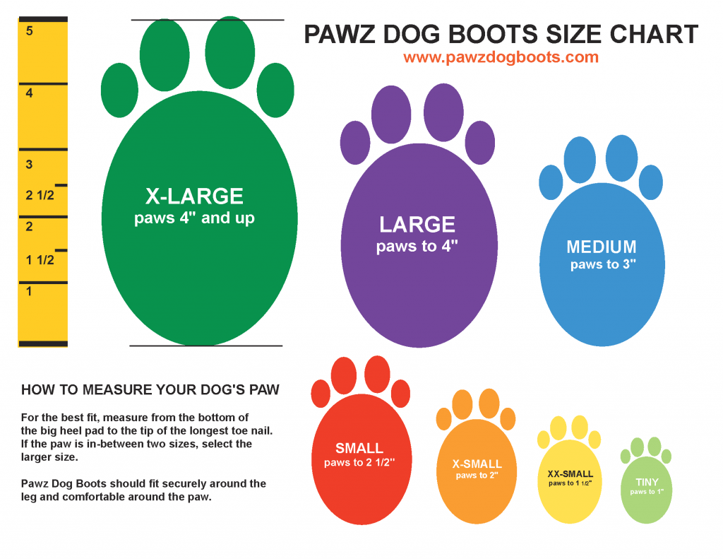 Pawz Dog Boot Sizes